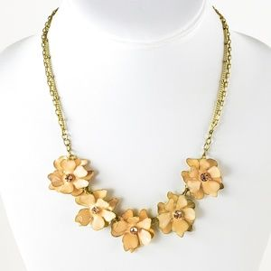 Trifari Flower Necklace Blush Dainty Double Chains